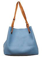 Женская большая двухцветная сумка P156(сине-красная)