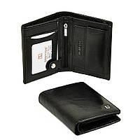 Вертикальный мужской кошелек Bretton из натуральной кожи. Кожаное портмоне черный цвет., фото 1