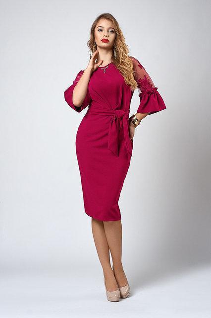 916de6fefa1cce7 Праздничное платье малинового цвета с кружевом - Оптово-розничный магазин  одежды