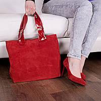 Сумка для носки в руках из натуральной  яркой  красной замши 90037
