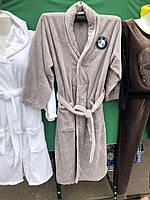 Халат мужской банный . серый . белый
