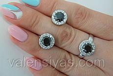 Комплект серебряных украшений - кольцо и серьги с черным фианитом