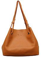 Женская большая двухцветная сумка P156 (коричнево-красная)