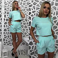 Костюм женский стильный свободный топ и шорты с карманами разные цвета Kv885