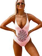 Розовый слитный женский купальник, фото 1