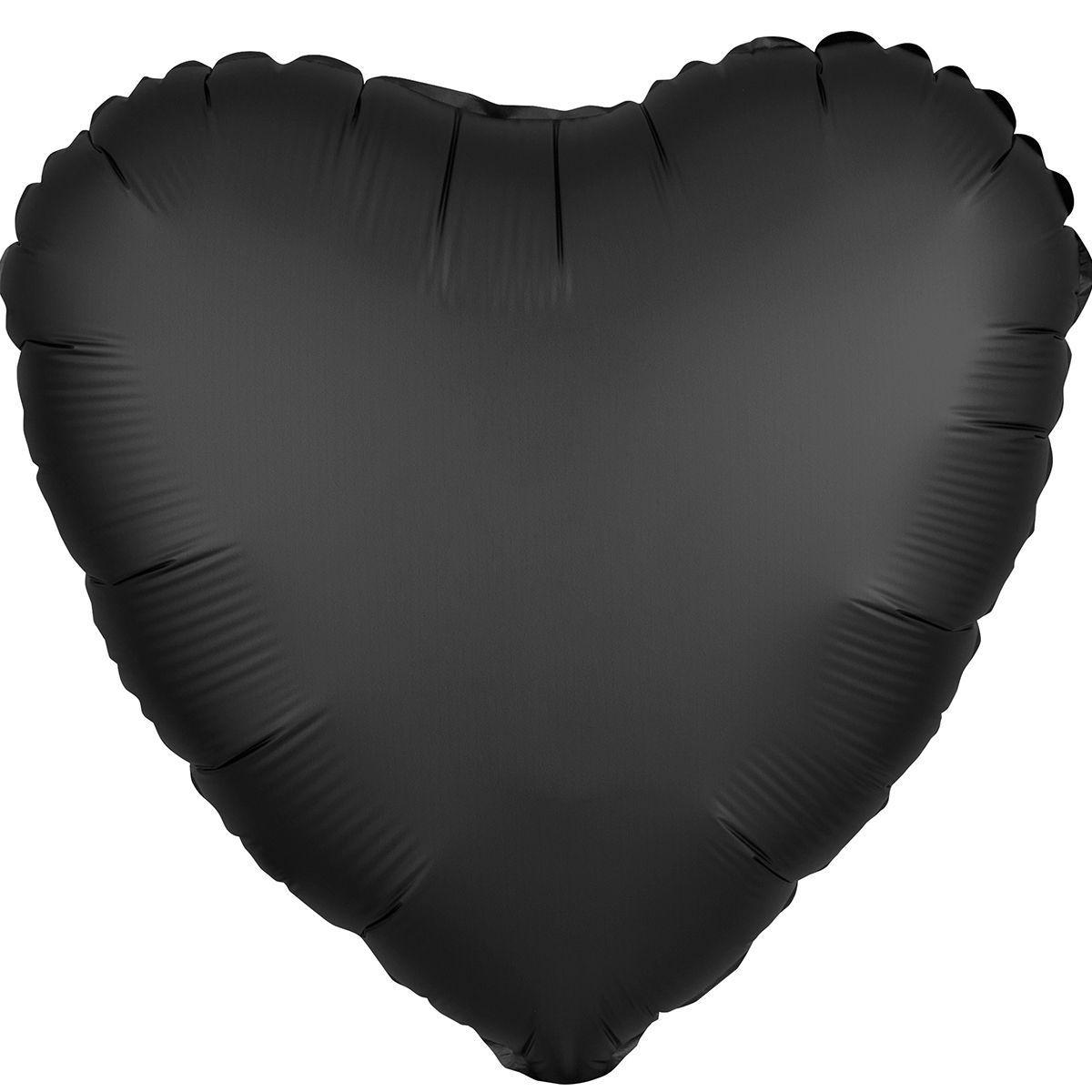 """Фольгированные шары без рисунка  18"""" сердце сатин Черное s15 (Anagram)"""