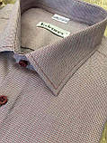 Летняя мужская рубашка с коротким рукавом меланж бордового цвета, фото 2