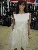 Женское дизайнерское платье молочного цвета  с красивой спинкой р 46