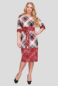 Платье с поясом для полных девушек Алла красная клетка