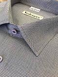 Мужская рубашка с коротким рукавом меланж джинсового цвета, фото 2