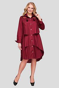 Платье на лето свободное большие размеры Троя бордо