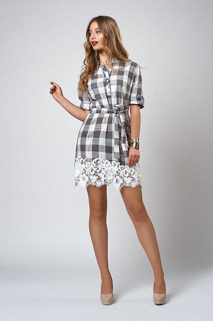 c18a816a07e70a4 Летнее платье из льна с кружевом и пояском от оптово-розничного ...