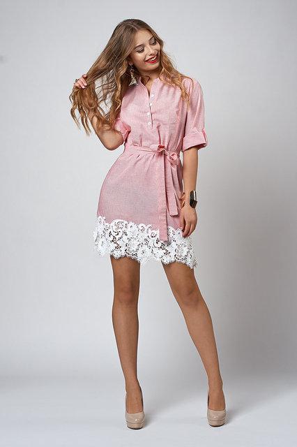 2842706c3e2 Молодежное летнее платье из льна в красную полоску - Оптово-розничный  магазин одежды