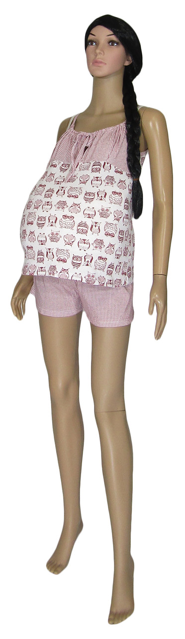 Комплект пижама для беременных и кормящих 03238 Topi Pink Owl, хлопок, р.р.42-50