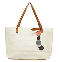 Женская вместительная сумка P005 (кремовая)