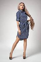 Хлопковое  платье-рубашка в синюю клетку