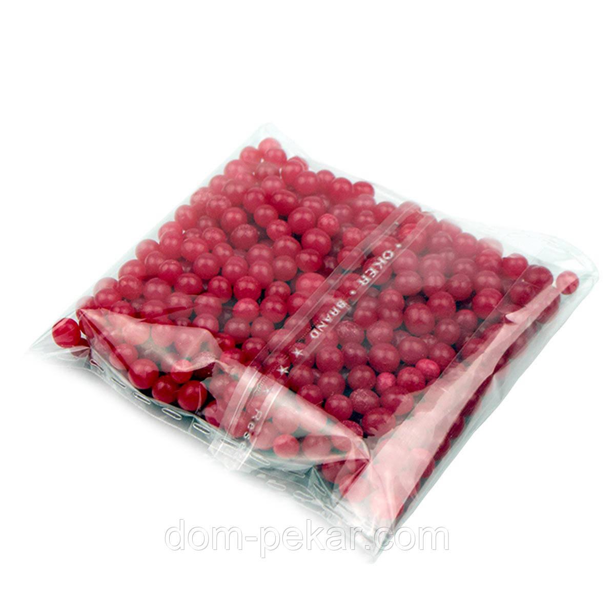 Бусинки сахарные Жемчуг ярко-красный 4 мм (25 гр.)
