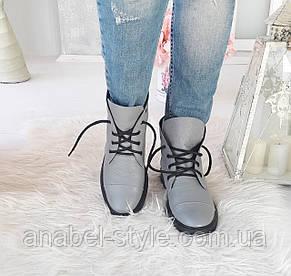 Ботинки осенне-весенние женские из натуральной кожи серые на шнуровочке Код 1532 AR, фото 2