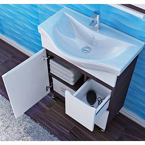 Тумба под раковину для ванной комнаты Моника Нова М4-75-белый с умывальником Витториа 75 Ювента, фото 2