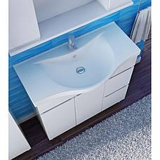 Тумба под раковину для ванной комнаты Моника Нова М5-100-белый с умывальником Витториа 100 Ювента, фото 2