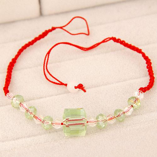 Браслет Красная Нить с прозрачными бусинами B007522