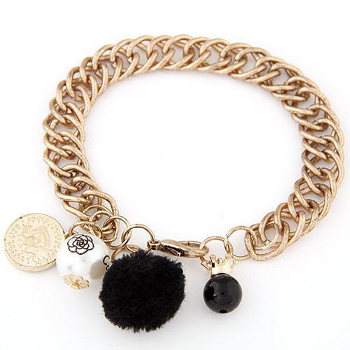 Браслет цепочка золотой с черным шариком B007815