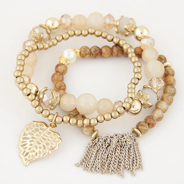 Набор браслетов из бусин Золотое прикосновение B007881