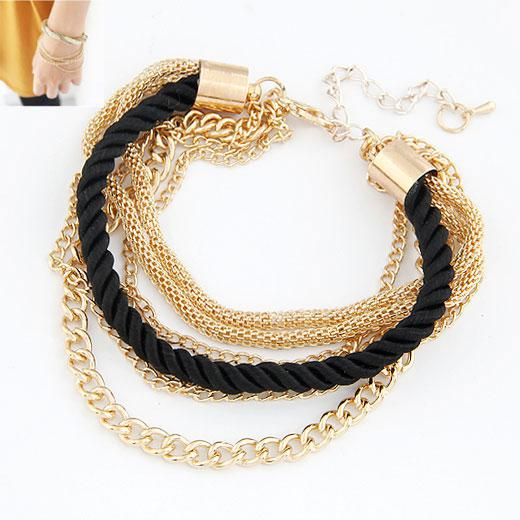 Браслет Золотые цепочки с черным шнурком  B007906