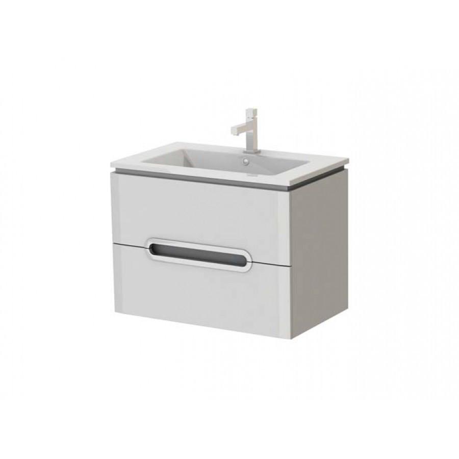 Тумба под раковину для ванной комнаты Прато Рr-75-белый с умывальником Атриа 75 Ювента