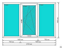 Окно Veka Euroline-Plus 2100\1450мм с одной створкой