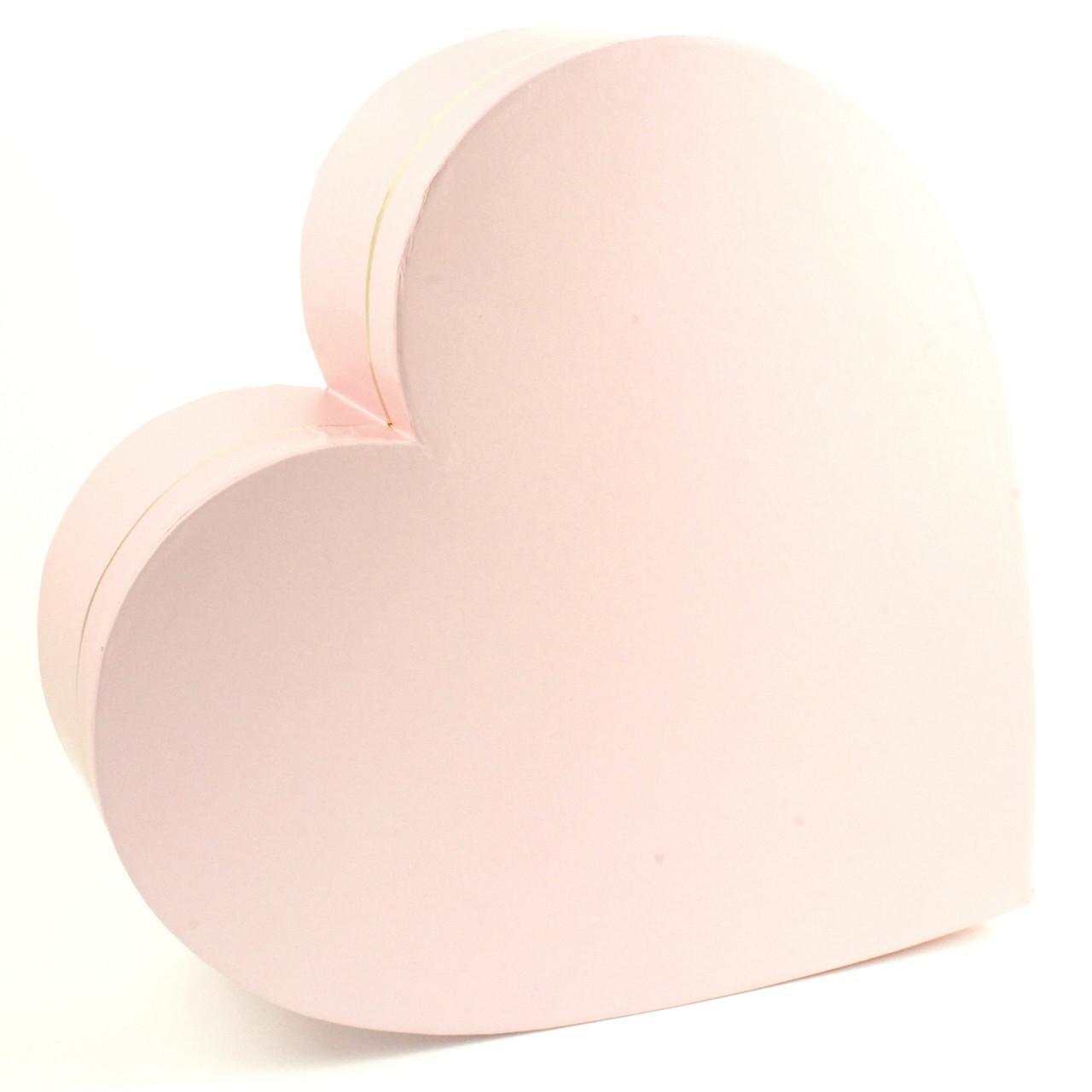 Подарочная коробка Сердце розовая с золотом 33 x 32.5 x 11.5 см
