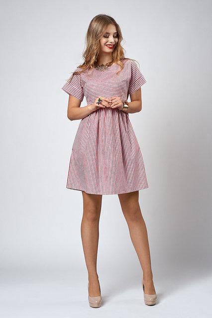 7c58a22cb74 Женское летнее платье с завышенной талией в полоску - Оптово-розничный  магазин одежды
