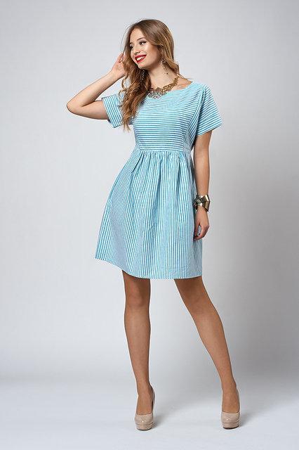 040405771e9 Яркое бирюзовое платье в мелкую полоску - Оптово-розничный магазин одежды