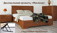 Двуспальная кровать «Милена» с интарсией и подъемным механизмом