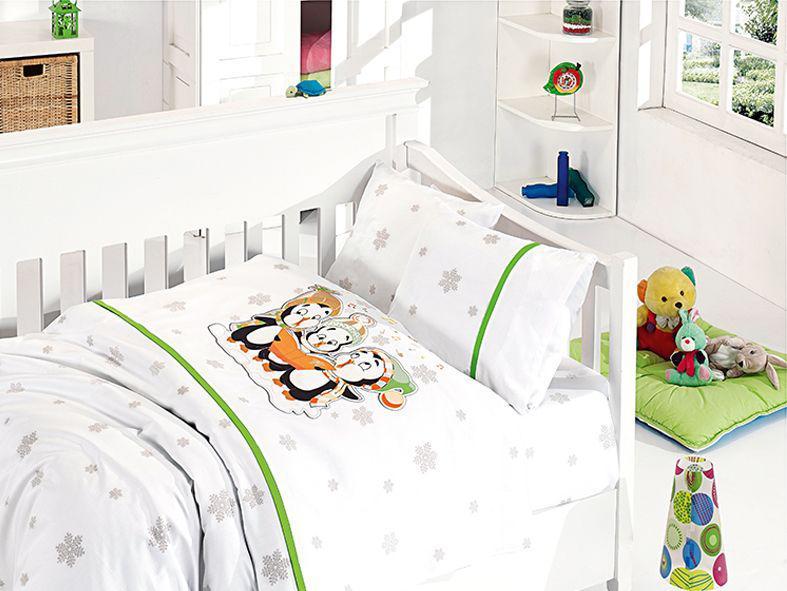 """Детская постель """"First Choice"""" 100х150 в кроватку сатин Penguins Yesil"""