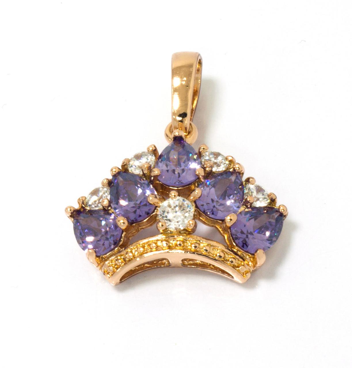 Кулон Корона,с фиолетовым цирконием, р.22мм*20мм, позолота
