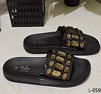 Шлепки женские черные, декор камни размер 36 и 38, женская обувь