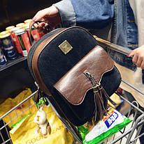 Шикарний вельветовий рюкзак з пензликами і брелком мишком, фото 2