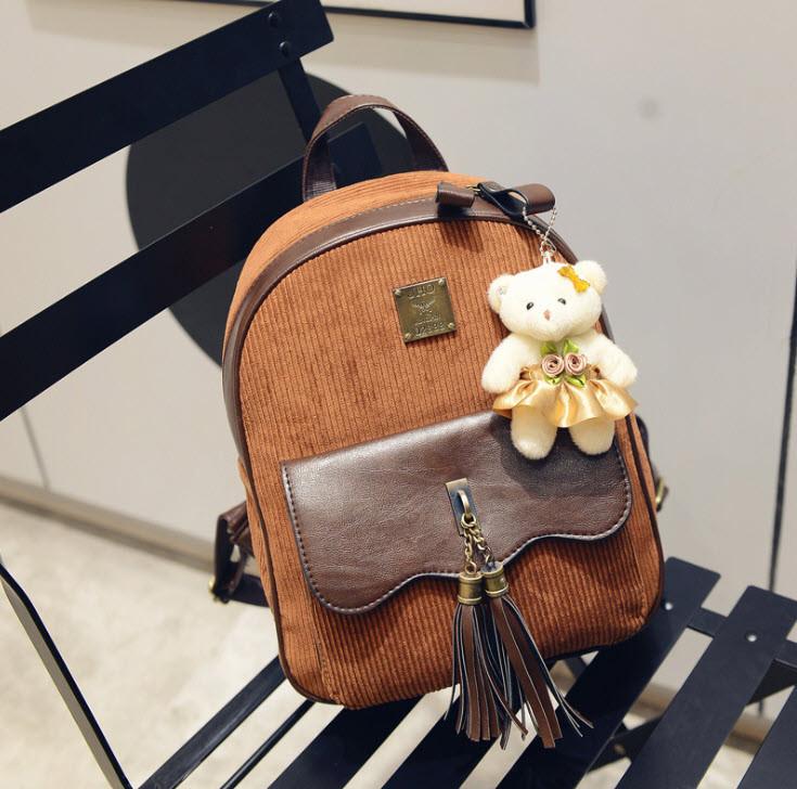 Шикарний вельветовий рюкзак з пензликами і брелком мишком