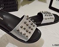 Шлепанцы летние женские, декор бусины, серебро, стильная обувь