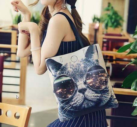 Большая сумка шопер с принтом кота , фото 2