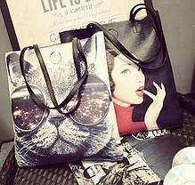 Большая сумка шопер с принтом кота , фото 3