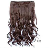 Трессы волосы на заколках Каштановый