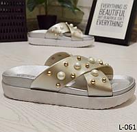 Шлепки летние женские с бусинами, серебро, стильная обувь