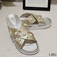 Шлепки на платформе, декор бусины, серебро, стильная женская обувь