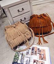 Стильная женская сумка под замшу с бахромой, фото 2