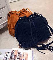 Стильная женская сумка под замшу с бахромой, фото 3