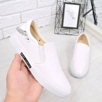 Слипоны женские Wings белые 4657, спортивная обувь