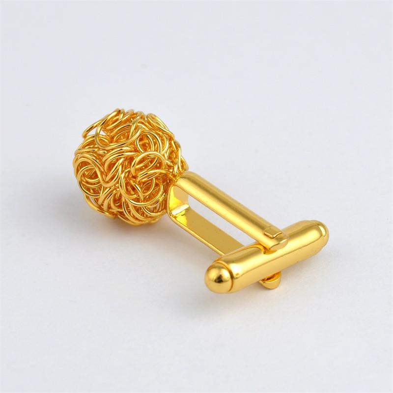 Запонки круглые золотые Клубок - для бизнесменов, молодых людей, торжественных мероприятий