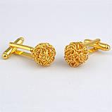 Запонки круглые золотые Клубок - для бизнесменов, молодых людей, торжественных мероприятий , фото 3